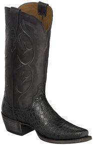 Lucchese Handmade Dark Grey Van Giant Gator Cowboy Boots - Snip Toe  , Dark Grey, hi-res