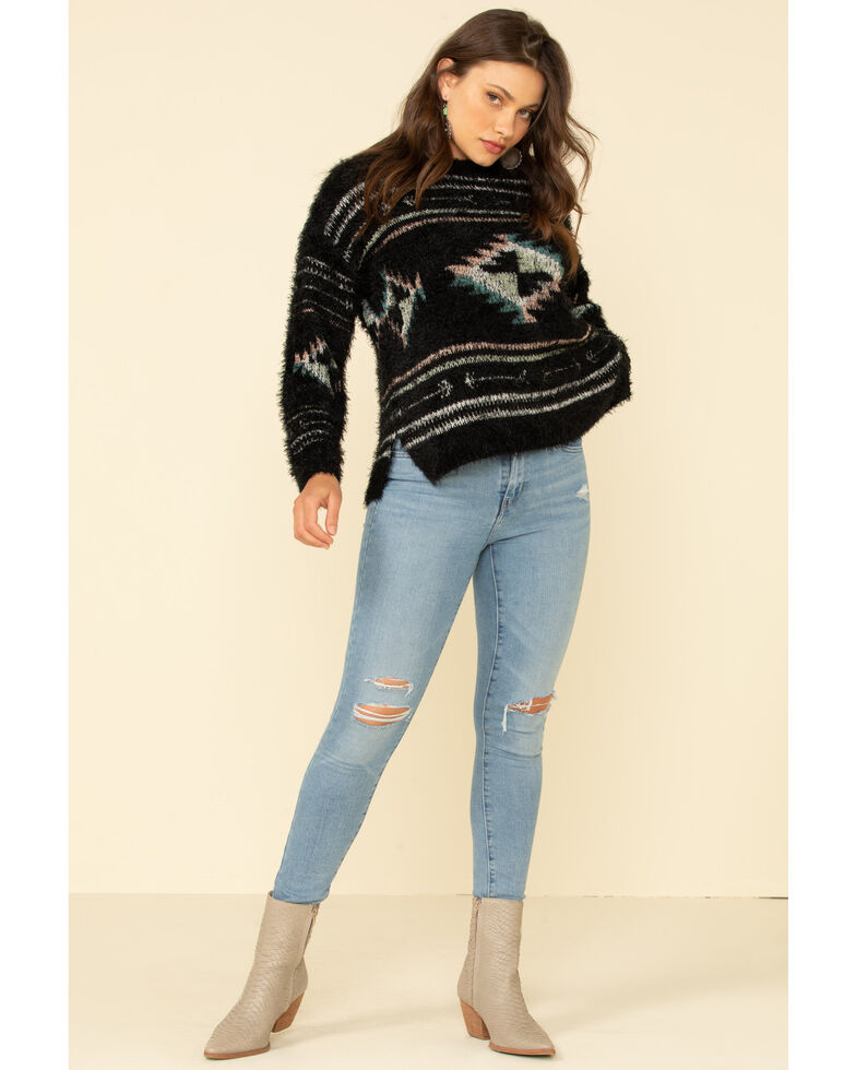Wrangler Retro Women's Aztec Print Eyelash Pullover Sweater , Black, hi-res
