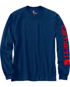 Carhartt Men's Navy Signature Graphic Logo T-Shirt - Tall, Navy, hi-res