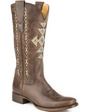 Roper Brown Navajo-Inspired Inlay Cowgirl Boots - Square Toe , Brown, hi-res