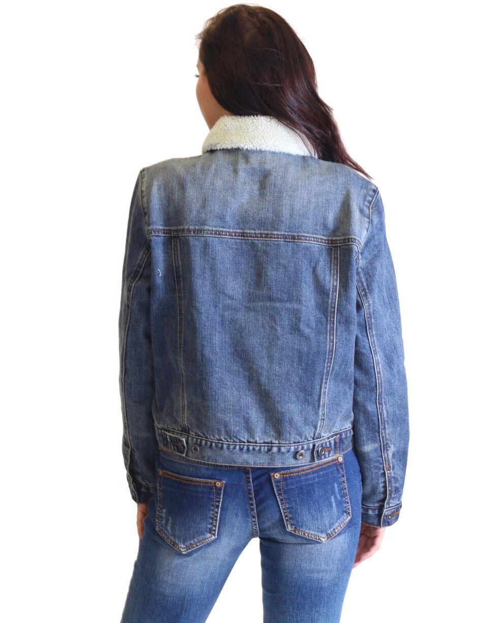 Grace In LA Women's Distressed Hem Sherpa Lined Denim Jacket , Indigo, hi-res