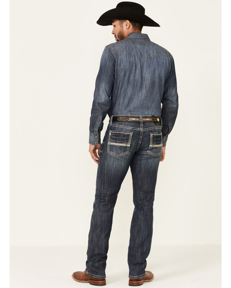 Rock & Roll Denim Men's Dark Wash Revolver Stretch Slim Straight Jeans , Blue, hi-res