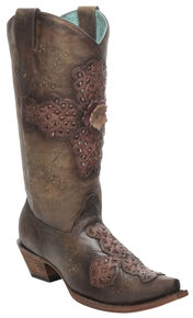Corral Women's Sand Rose Laser-Cut Cowgirl Boots - Snip Toe, Sand, hi-res