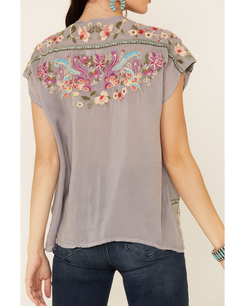 Johnny Was Women's Grey Talon Floral Embroidered Short Sleeve Top, Grey, hi-res