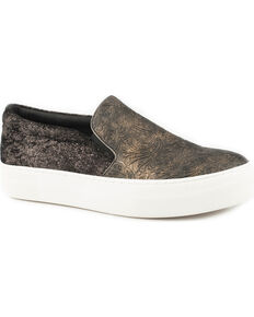 Roper Darcy Women's Black Metallic Floral Tooled Slip On Shoes - Round Toe, Black, hi-res