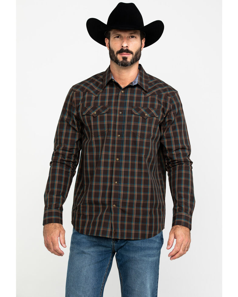 Cody James Men's True Grit Plaid Long Sleeve Western Shirt , Brown, hi-res