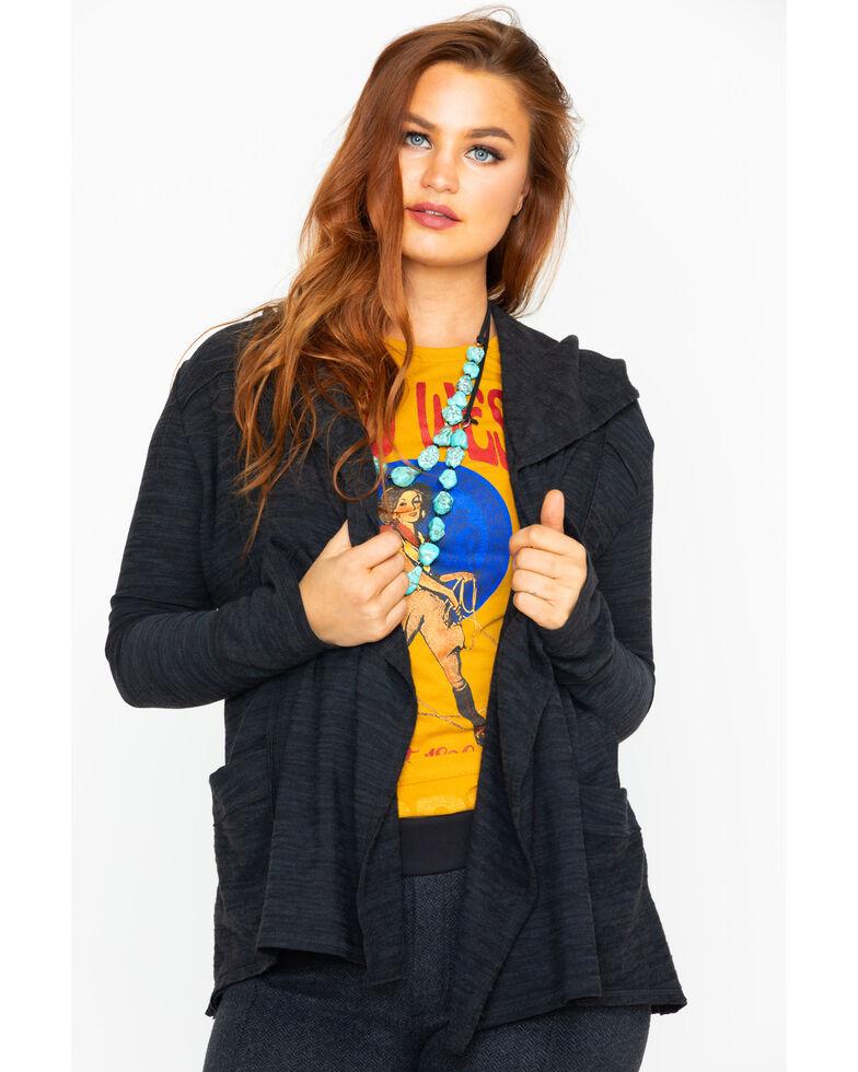 Elan Women's Open Front Hooded Cardigan , Black, hi-res