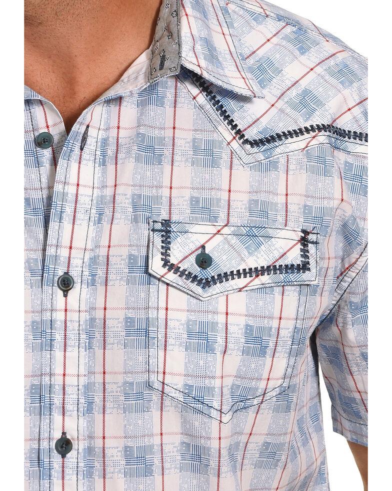 Moonshine Spirit Men's Americana Striped Long Sleeve Western Shirt , Blue, hi-res