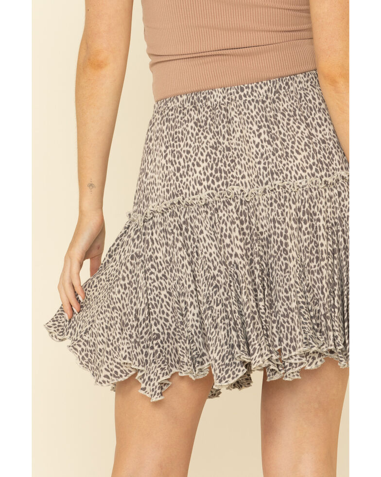 By Together Women's Grey Leopard Print Skirt, Grey, hi-res