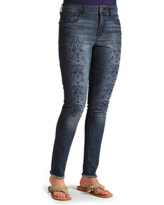 Wrangler Women's Embroidered Tribal Print Skinny Jeans , Indigo, hi-res