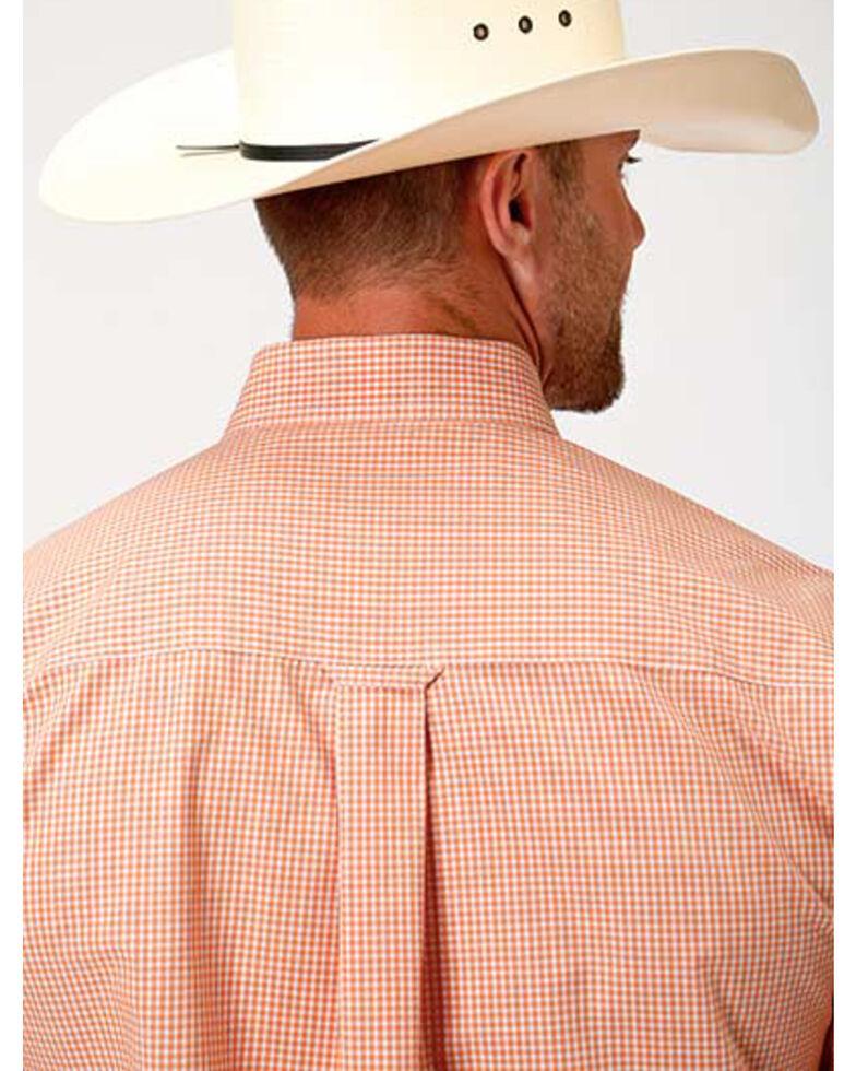 Roper Men's Amarillo Oasis Mini Check Plaid Long Sleeve Western Shirt , Orange, hi-res