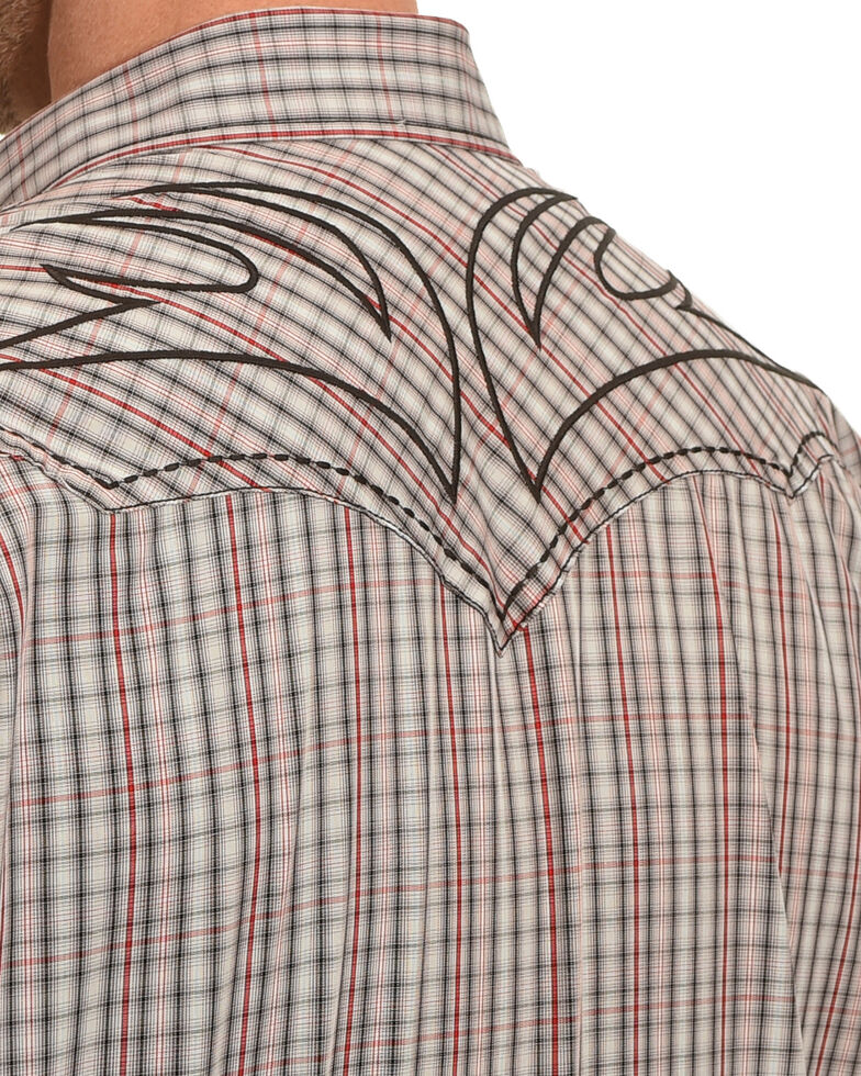 Moonshine Spirit Tribal Plaid Embroidered Long Sleeve Western Shirt  , Red, hi-res