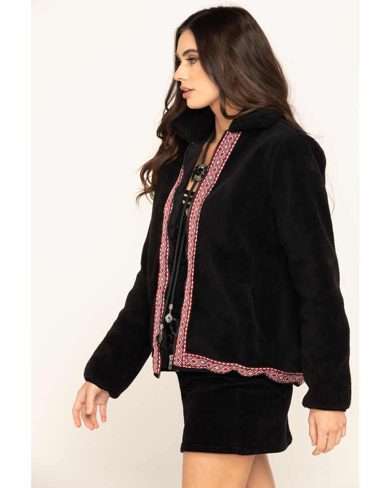 Wrangler Women's Black Sherpa Aztec Trim Coat , Black, hi-res