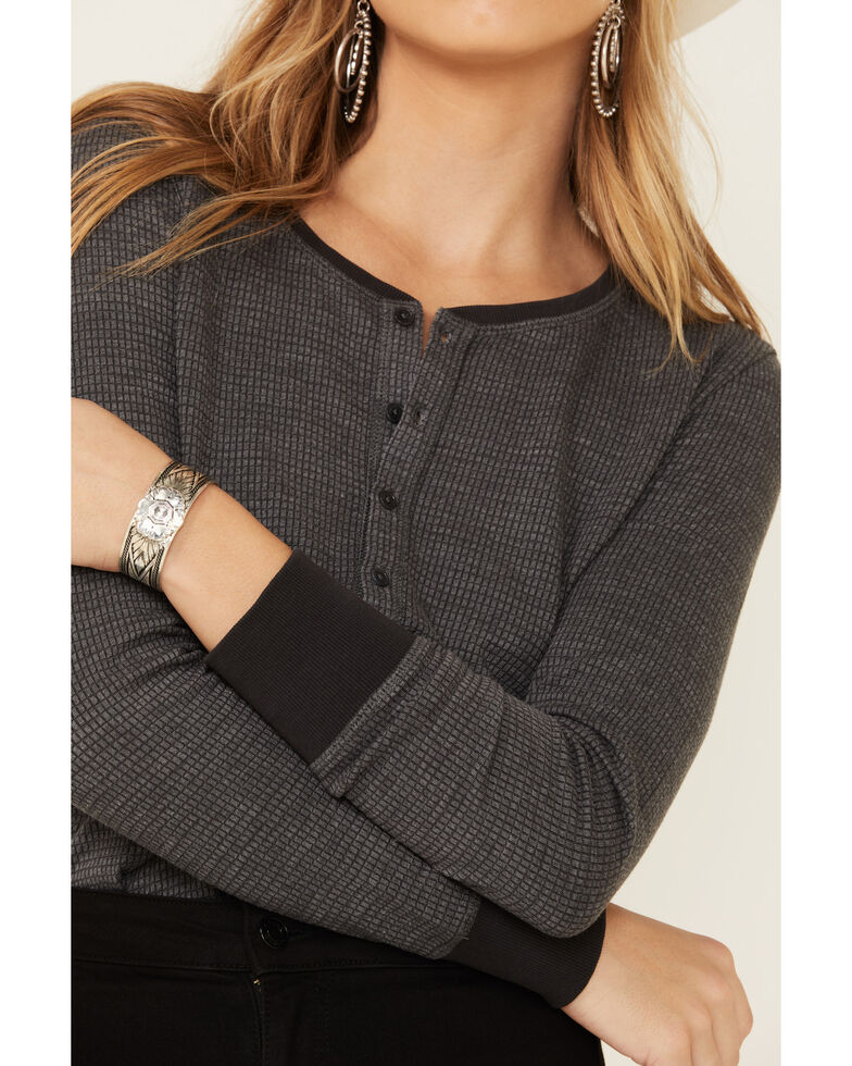 United By Blue Women's Olive Button Front Waffle Knit Thermal Top, Navy, hi-res