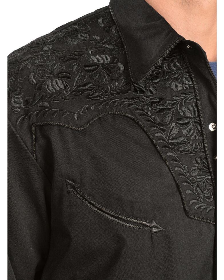 Scully Men's Black Floral Embroidered Retro Long Sleeve Western Shirt, Jet Black, hi-res