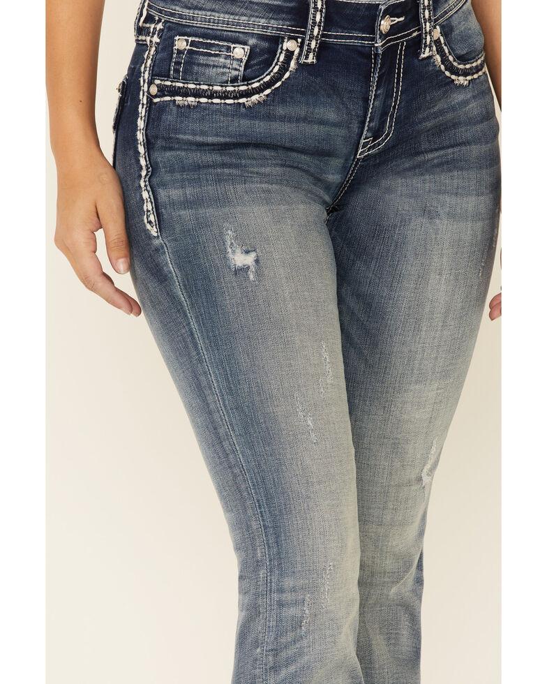Grace in LA Women's Silver Border Bootcut Jeans, Blue, hi-res