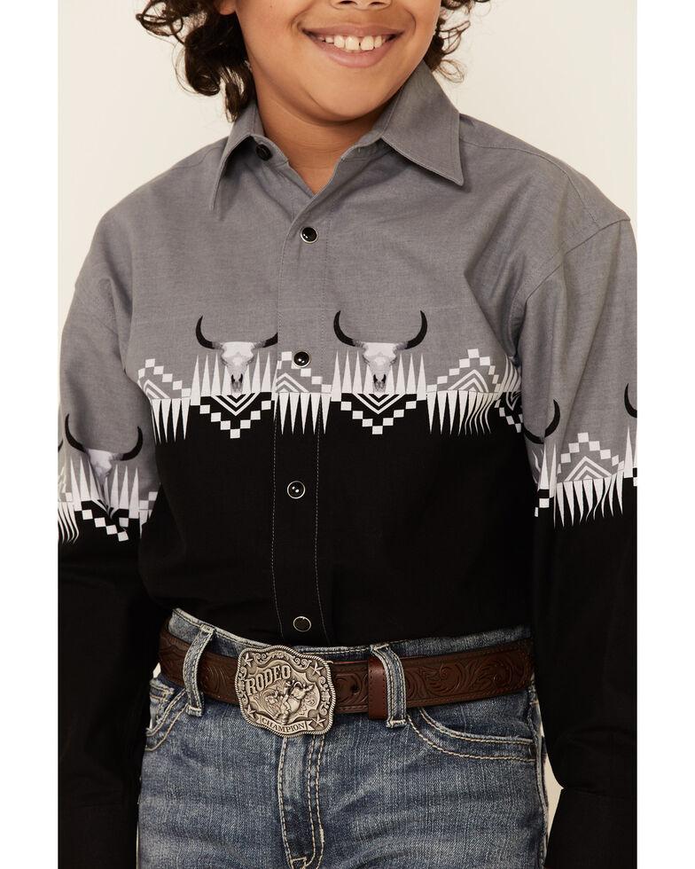 Panhandle Boys' Black Buffalo Border Print Long Sleeve Snap Western Shirt , Black, hi-res