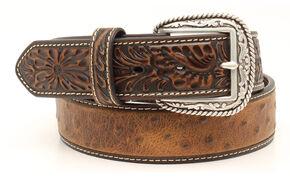 Ariat Ostrich Print Tooled Tab Belt, Brown, hi-res