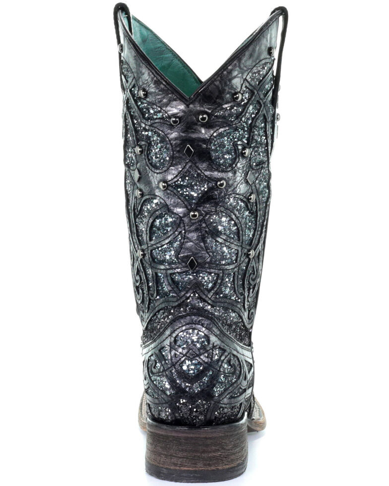 Corral Women's Glitter Inlay Western Boots - Square Toe, Black, hi-res