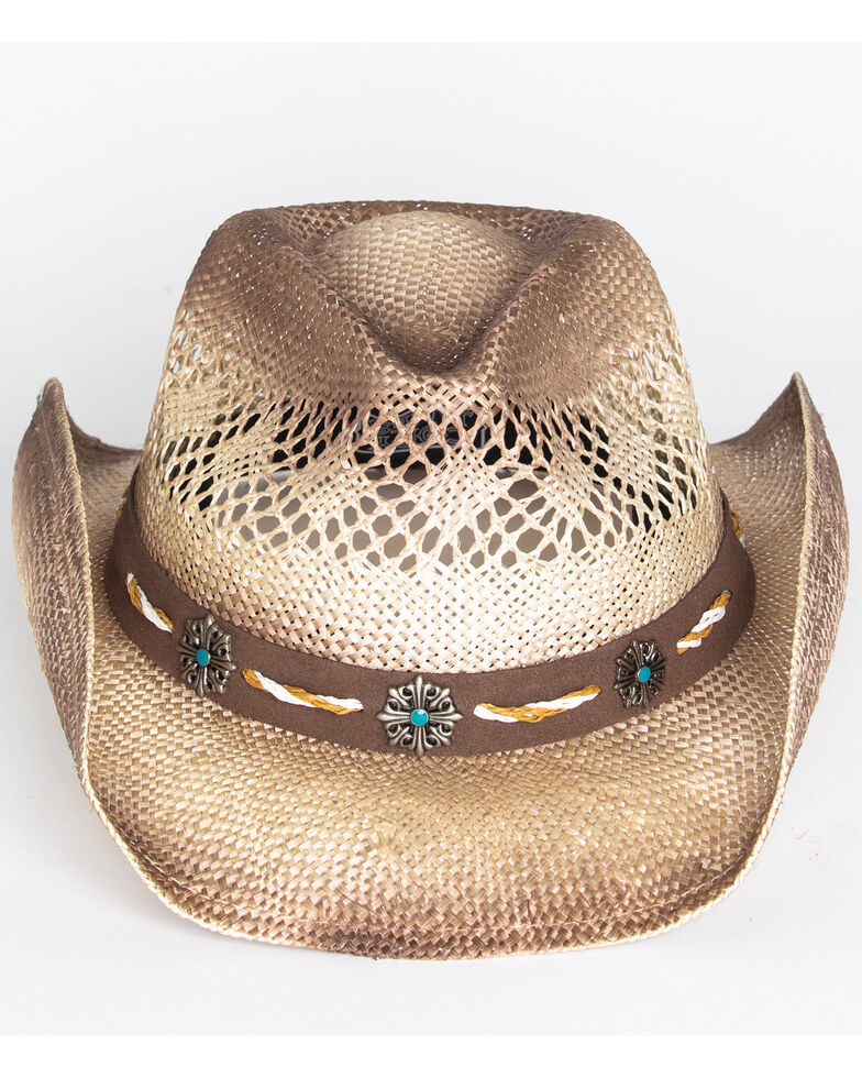 Cody James Men's Shaggy Straw Cowboy Hat , Brown, hi-res