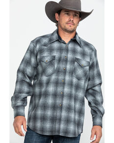 Pendleton Men's Grey Canyon Ombre Plaid Long Sleeve Western Flannel Shirt , Grey, hi-res