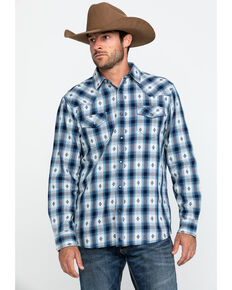 Cody James Men's TBA Name Plaid Long Sleeve Western Flannel Shirt , Blue, hi-res