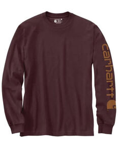 Carhartt Men's Wine Logo Graphic Long Sleeve Heavyweight Work T-Shirt - Big & Tall , Wine, hi-res