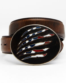 Cody James Men's American Flag Leather Belt, Brown, hi-res