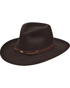 Black Creek Men's Crushable Wool Pinch Front Hat , Dark Brown, hi-res