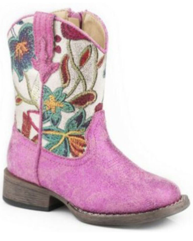 Roper Toddler Girls' Lily Western Boots - Square Toe, Pink, hi-res
