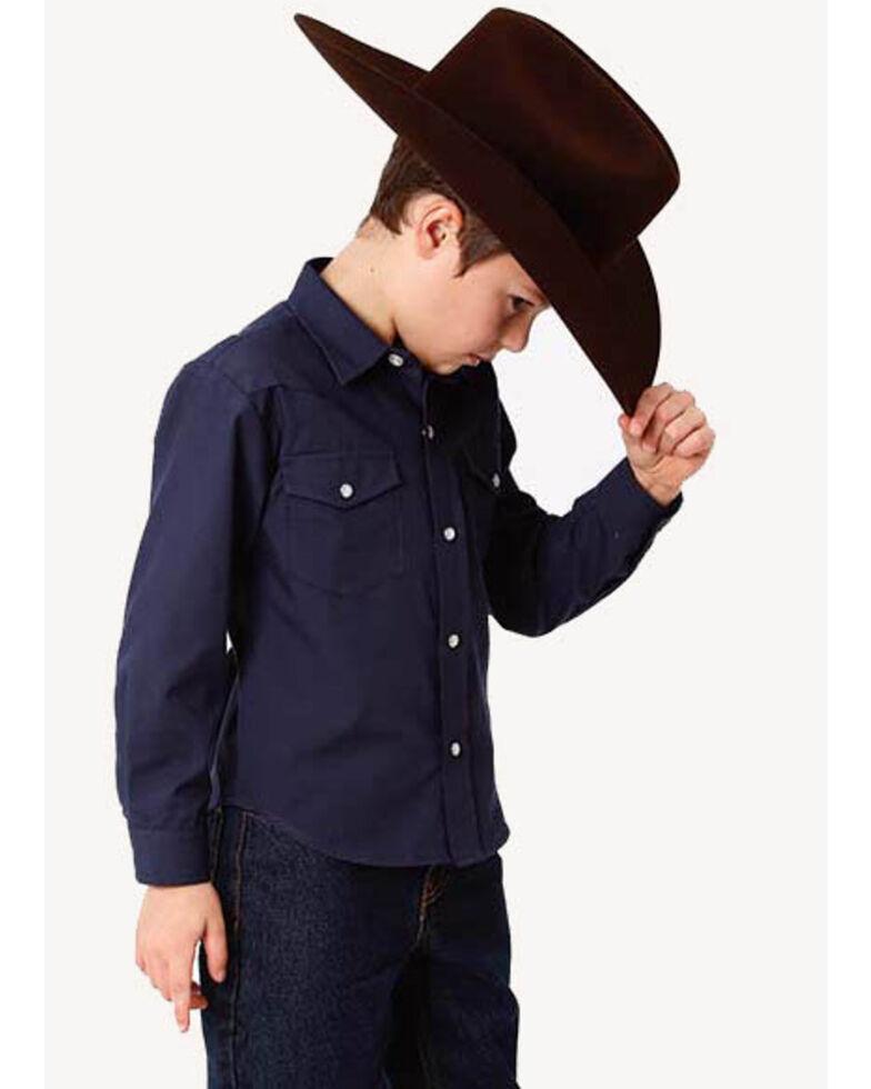 Roper Boys' Solid Broadcloth Long Sleeve Western Shirt, Blue, hi-res