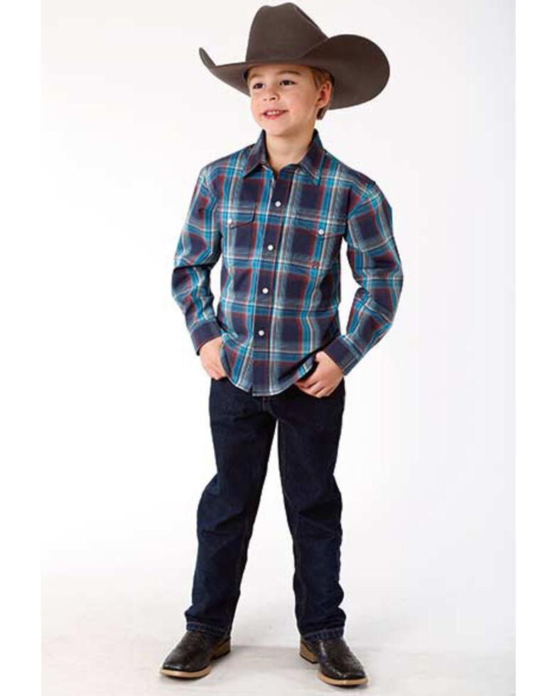 Roper Boys' Amarillo Plaid Long Sleeve Western Shirt , Blue, hi-res