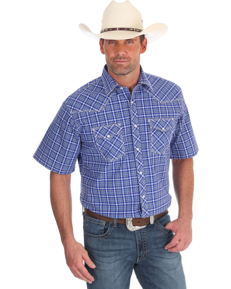 Wrangler 20X Men's Navy Competition Advanced Comfort Short Sleeve Western Shirt , Navy, hi-res