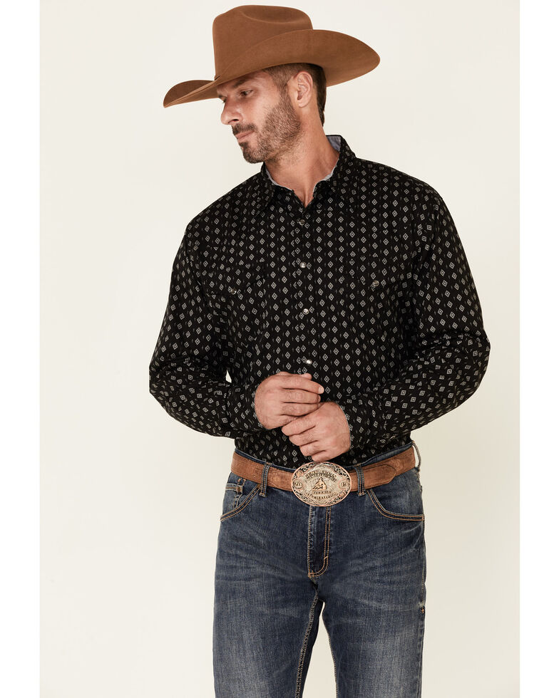 Roper Men's Navy Diamond Aztec Stripe Long Sleeve Snap Western Shirt , Navy, hi-res