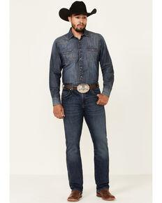 Wrangler Retro Men's Victoria Dark Wash Stretch Slim Bootcut Jeans - Tall, Blue, hi-res