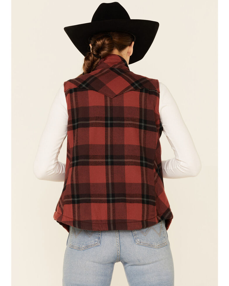 North River Women's Burgundy & Rust Henna Buffalo Plaid Zip-Front Vest, Burgundy, hi-res
