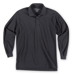 5.11 Tactical Jersey Long Sleeve Polo, Black, hi-res