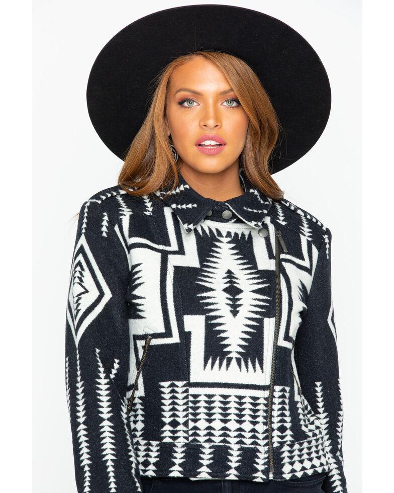 Pendleton Women's Harding Jacquard Moto Jacket, Black, hi-res