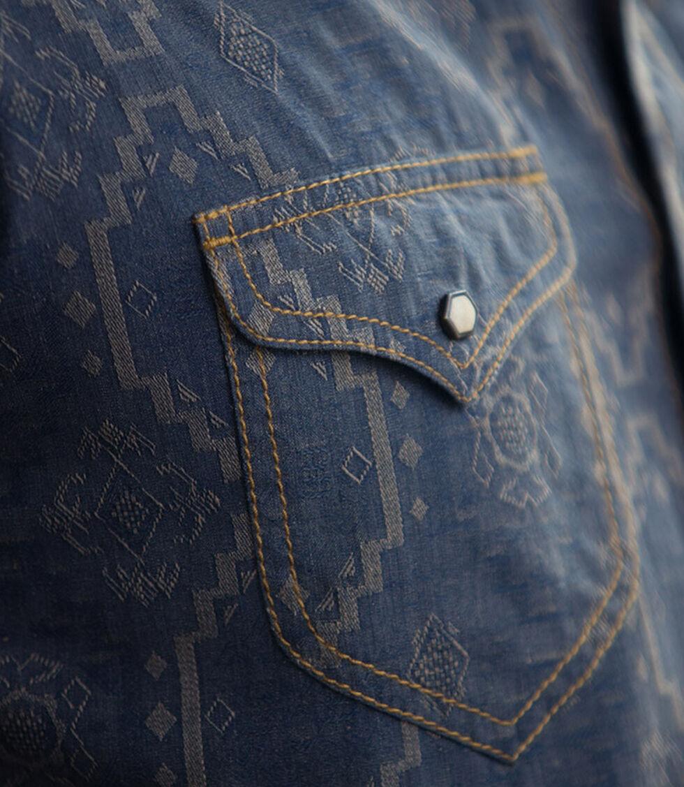 Ryan Michael Men's Aztec Silk Jacquard Shirt, Cobalt, hi-res