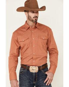 Amarillo Men's Copper Ridge Solid Orange Long Sleeve Snap Western Shirt , Orange, hi-res