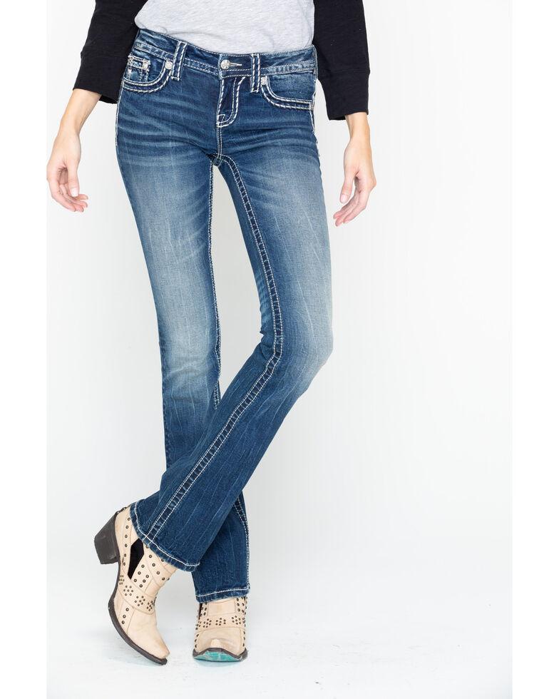 "Miss Me Women's Medium Wash Stitch 32"" Bootcut Jeans, Blue, hi-res"