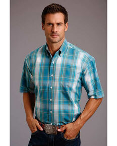 Roper Men's Teal Plaid Short Sleeve Western Shirt , Blue, hi-res