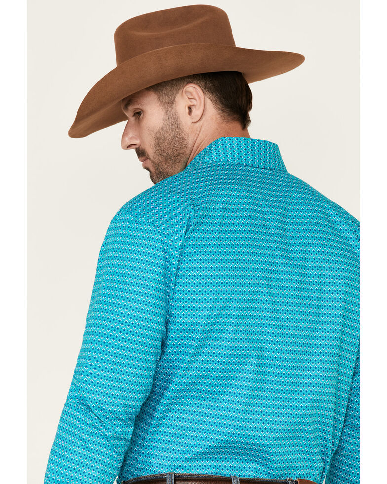 Rough Stock By Panhandle Men's Turquoise Aztec Geo Print Long Sleeve Western Shirt , Turquoise, hi-res