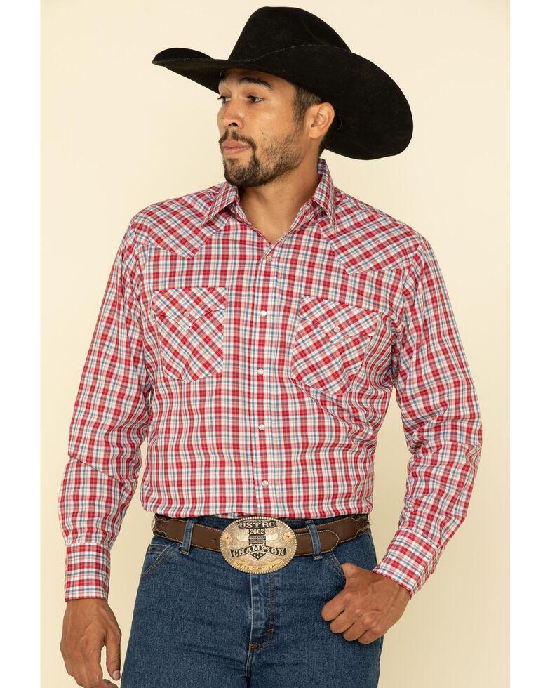 Ely Walker Men's Multi Small Plaid Long Sleeve Western Shirt , Medium Red, hi-res