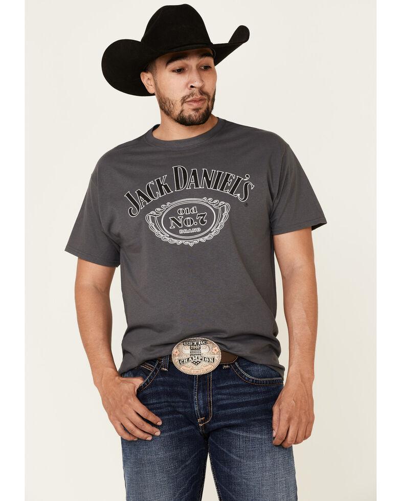 Jack Daniels Men's Charcoal Cartouche Logo Brand Graphic T-Shirt , Charcoal, hi-res