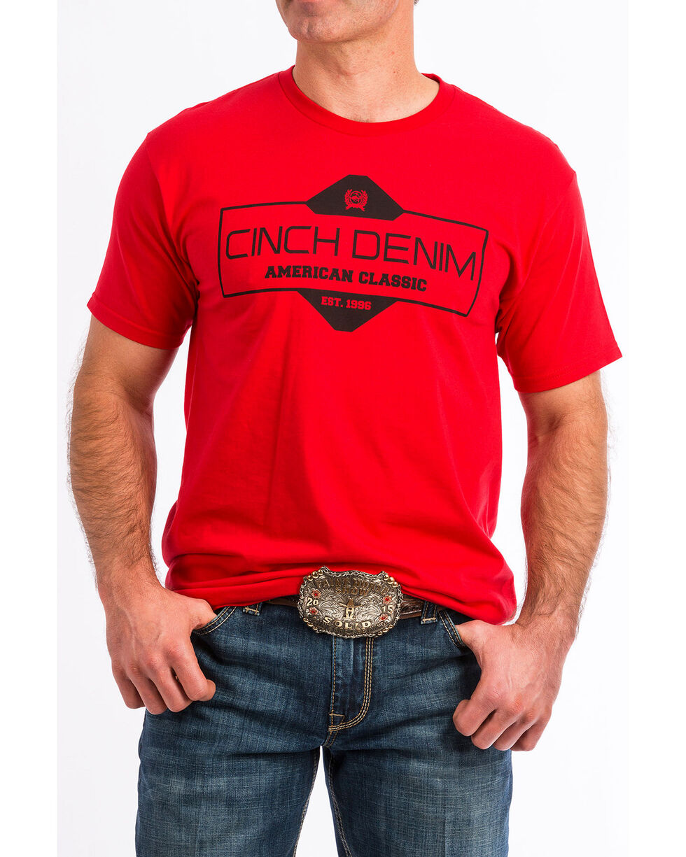 Cinch Men's Red Logo Graphic T-Shirt , Red, hi-res