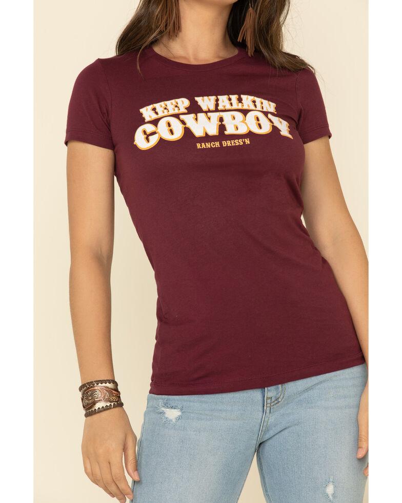 Ranch Dress'n Women's Keep Walkin Cowboy Graphic Tee , Wine, hi-res