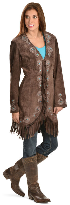 Scully Embroidered Fringe Long Suede Leather Jacket, Brown, hi-res