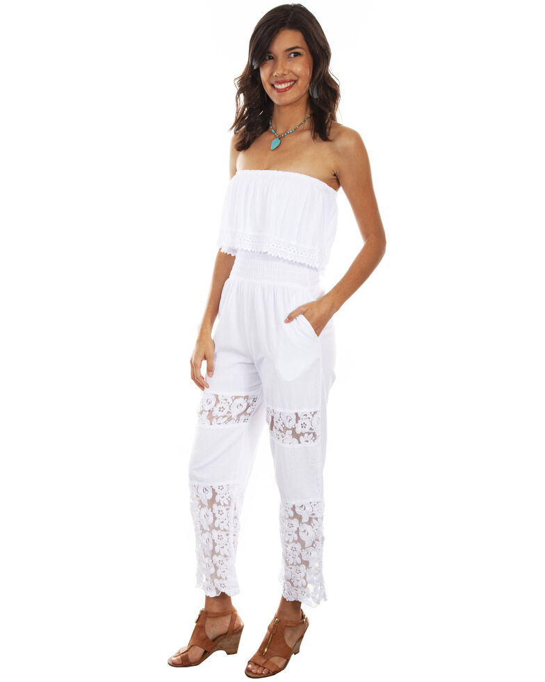Cantina Collection By Scully Lace Crochet Tube Top Romper , White, hi-res