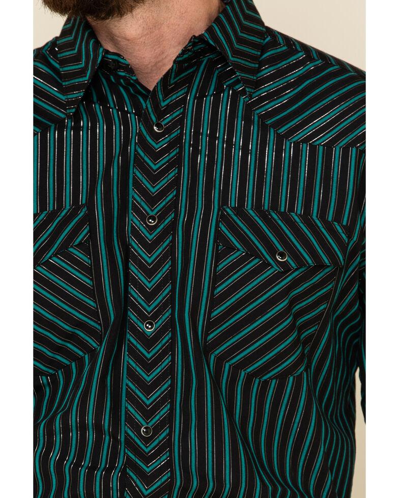 Wrangler Silver Edition Men's Black Striped Long Sleeve Western Shirt , Black, hi-res